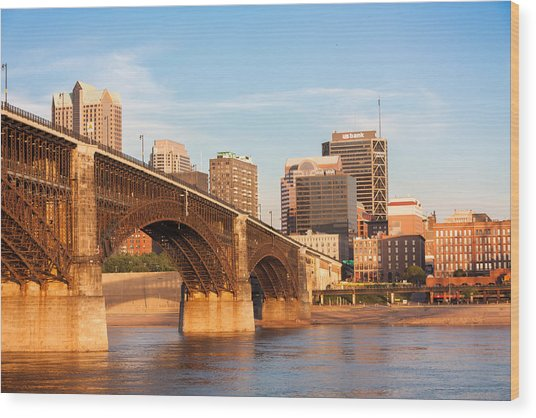 Eads Bridge At St Louis Wood Print