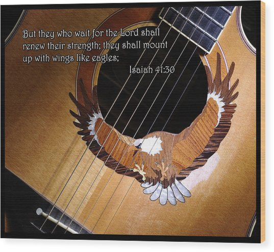 Eagle Guitar Wood Print