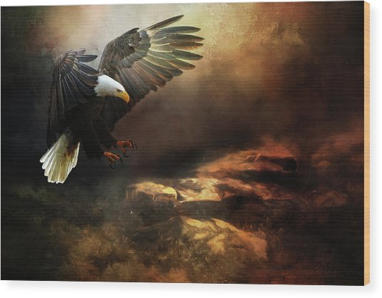Eagle Is Landing Wood Print