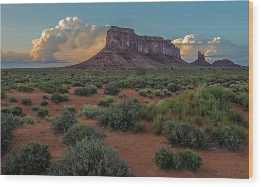 Eagle Mesa Storm Clouds Wood Print