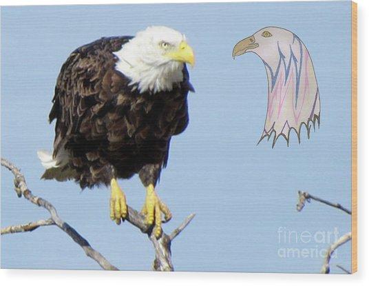 Eagle Reflection Wood Print