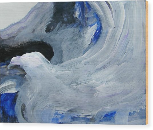 Eagle Riding On Waves Wood Print