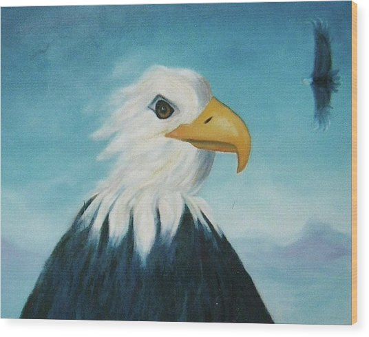 Eagle Wood Print by Suzanne  Marie Leclair