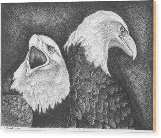 Eagles In Ink Wood Print