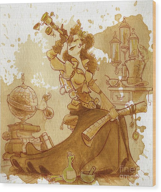 Earl Grey Wood Print by Brian Kesinger
