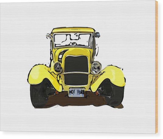 Early 1930s Ford Yellow Wood Print