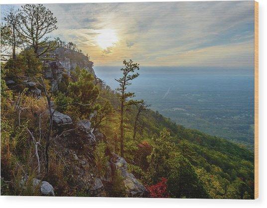 Early Autumn On Pilot Mountain Wood Print