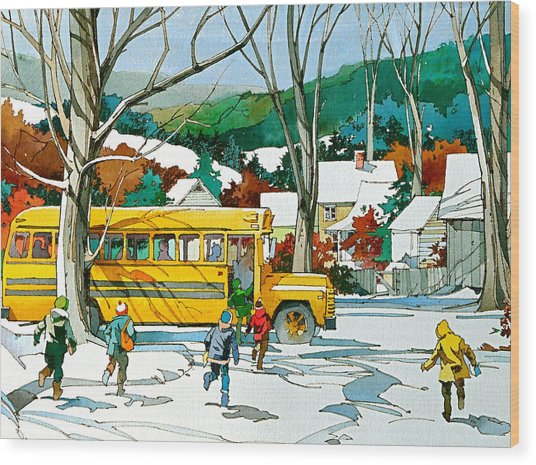 Early Bus Wood Print by Art Scholz
