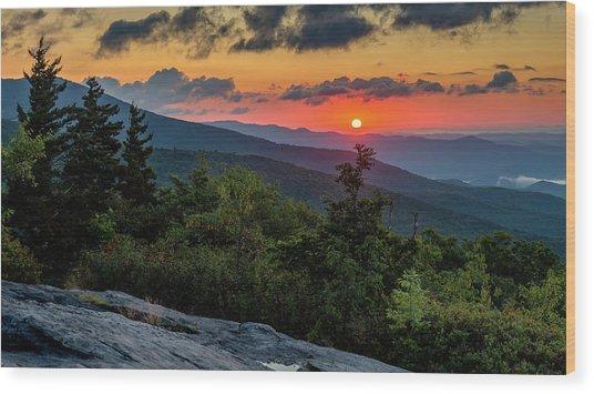 Blue Ridge Parkway Sunrise - Beacon Heights - North Carolina Wood Print
