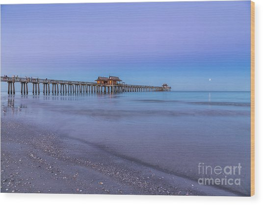 Early Morning At Naples Pier Wood Print