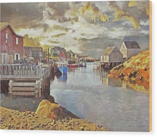 Early Morning At Peggy's Cove In Nova Scotia Wood Print
