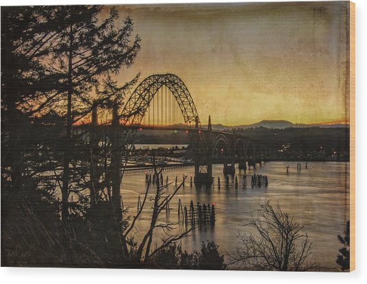 Early Morning At The Yaquina Bay Bridge  Wood Print