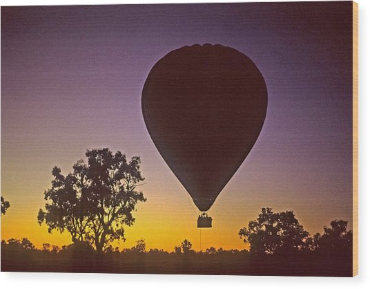 Early Morning Balloon Ride Wood Print