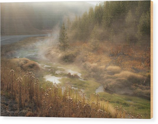 Early Morning Fog Yellowstone Np Wood Print