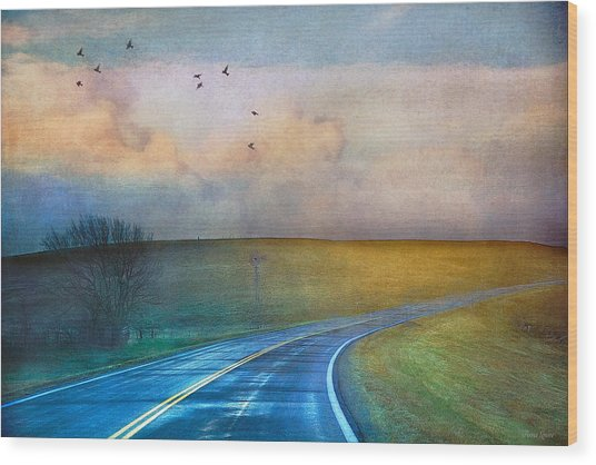 Early Morning Kansas Two-lane Highway Wood Print