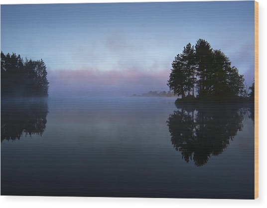 Early Morning Lake Nimisila Wood Print