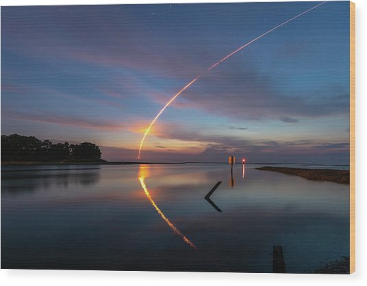 Early Morning Launch Wood Print