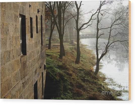 Early Morning Mist On The I  M Canal Wood Print