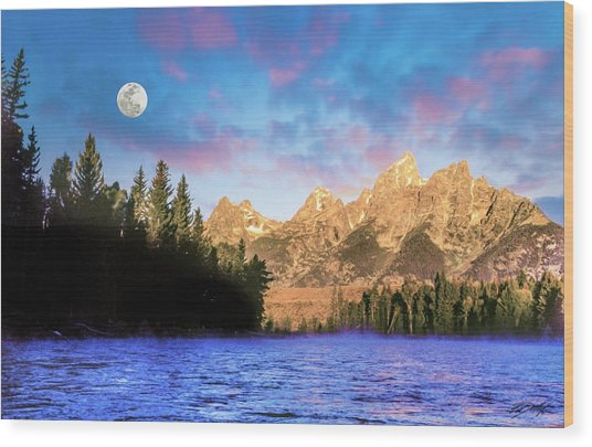 Early Morning On Snake River Wood Print