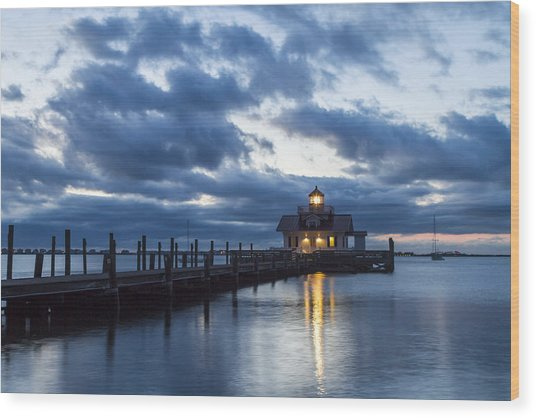 Early Morning Over Roanoke Marshes Lighthouse Wood Print