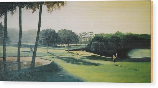 Early Morning Round Wood Print by Barry Smith