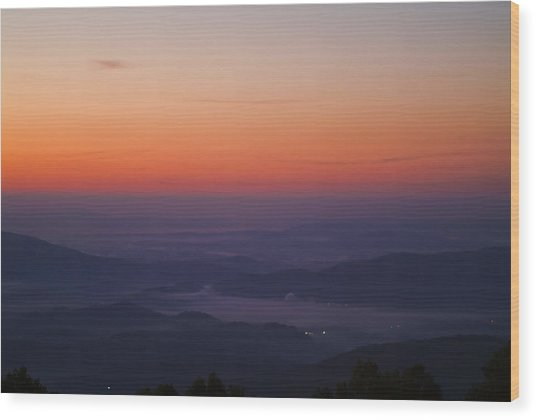 Early Morning Valley Fog Wood Print by Michael Whitaker