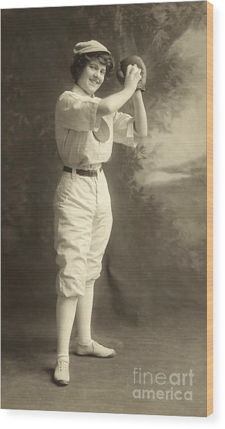 Early Portrait Of A Woman Baseball Player Wood Print