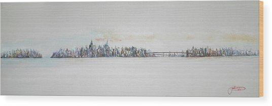 Early Skyline Wood Print