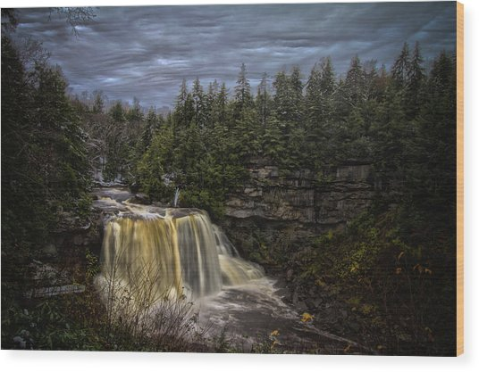 Early Snow At Black Water Falls Wood Print