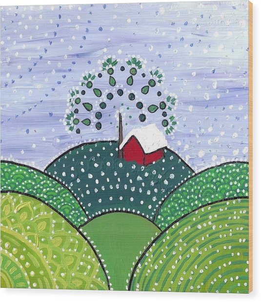 Early Snow On The Little Red Barn Wood Print