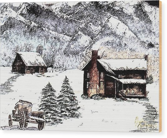 Early Snowfall Wood Print by Penny Everhart