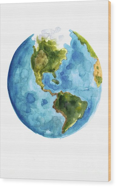 Earth America Watercolor Poster Wood Print