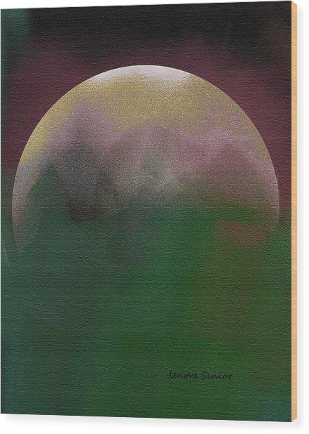 Earth And Moon Wood Print