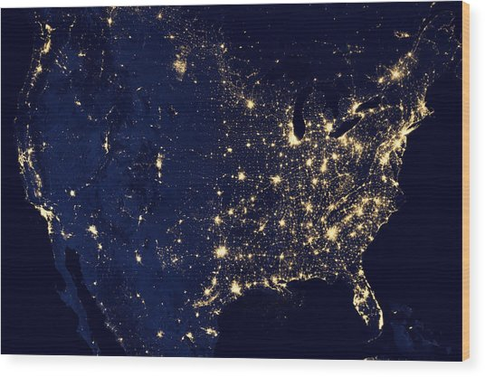 Earth At Night Wood Print