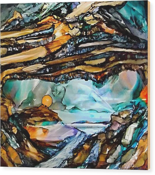 Earth Day Underground Paradise Alcohol Inks Wood Print