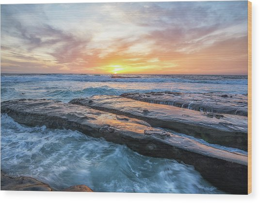 Earth, Sea, Sky Wood Print