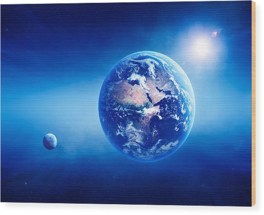 Earth Sunrise Deep Space Wood Print