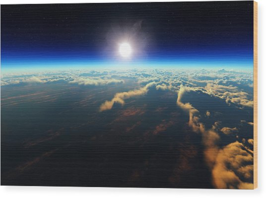 Earth Sunrise From Outer Space Wood Print