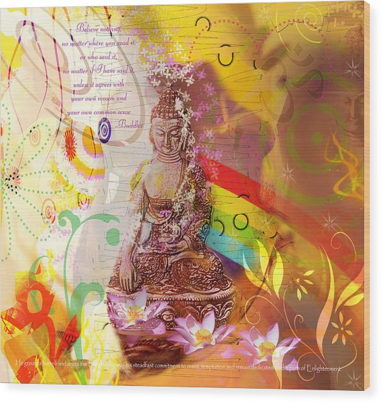 Earth Touching Buddha Wood Print