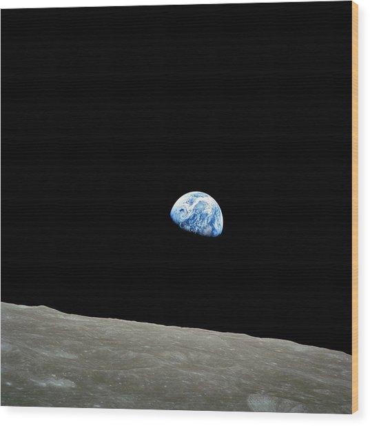 Earthrise - The Original Apollo 8 Color Photograph Wood Print