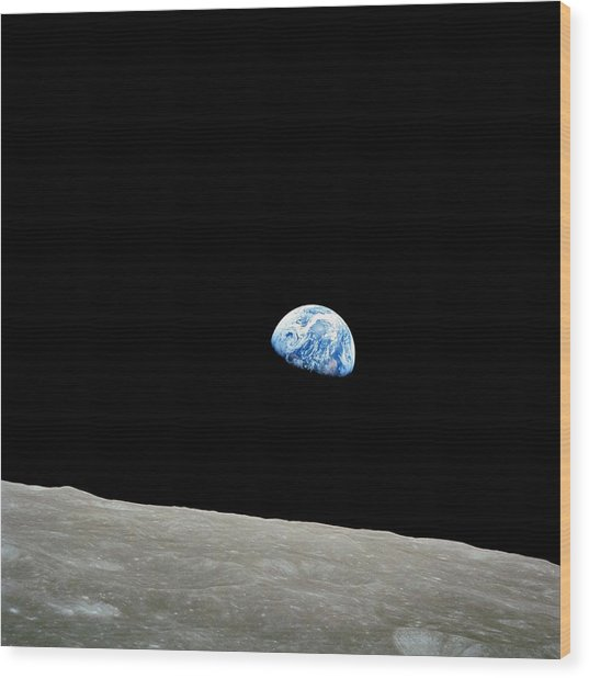 Earthrise Over Moon, Apollo 8 Wood Print
