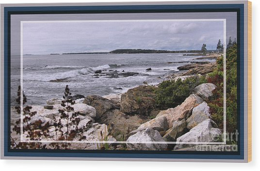 East Boothbay, Maine Ocean View, Framed Wood Print by Sandra Huston