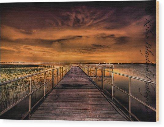 East Lake Pier Topaz Wood Print