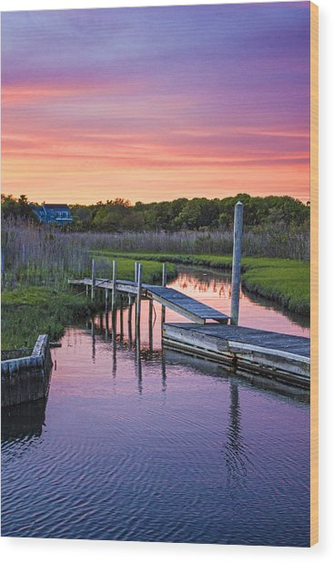 East Moriches Sunset Wood Print