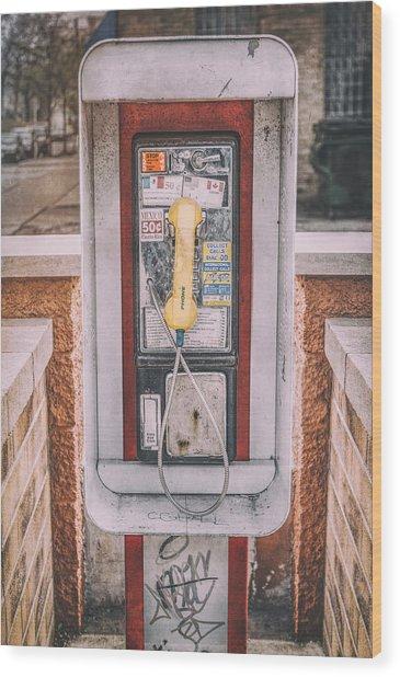 East Side Pay Phone Wood Print