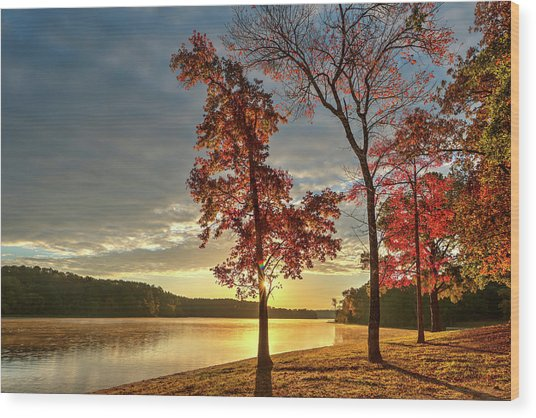 East Texas Autumn Sunrise At The Lake Wood Print