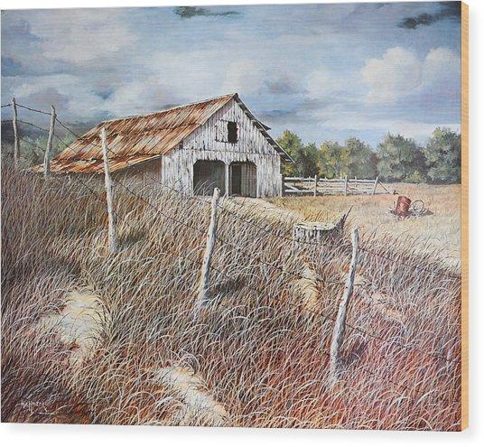 East Texas Barn Wood Print by Bob Hallmark