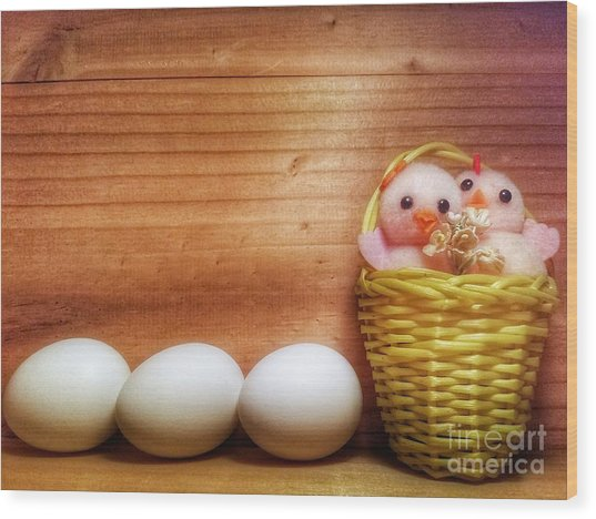 Easter Basket Of Pink Chicks With Eggs Wood Print