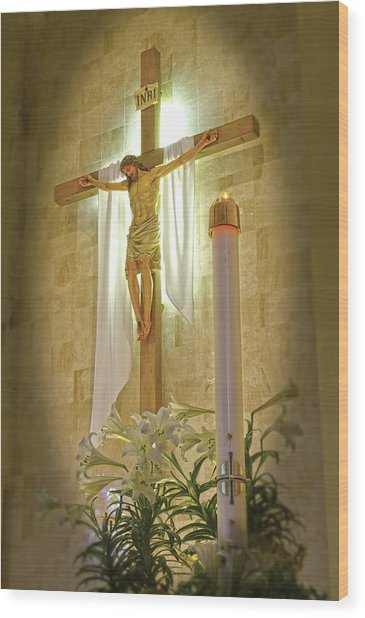 Easter Candle Wood Print by Don Wolf