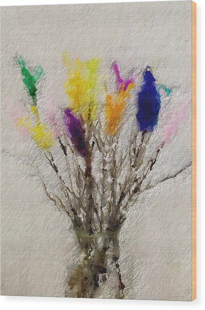 Easter Tree- Abstract Art By Linda Woods Wood Print
